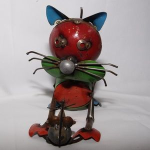 Colorful scrap metal kitty cat and mouse sculpture